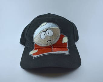 "90s SOUTH PARK CARTMAN Hat ""I'm Not Fat, I'm Big Boned""  Adjustable Black Cap Eric Cartman Comedy Central - Embroidered Embroidery - Tv Show"