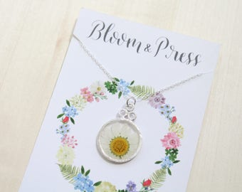 Pressed Daisy Silver Circle Necklace