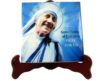 Saint Teresa of Calcutta - Mother Teresa - catholic collectible ceramic tile catholic saints serie devotional religious gift christian art