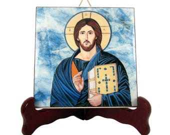 Christian gifts - Icon of Jesus Christ Pantocrator - ceramic tile handmade in Italy - christian gift idea - Jesus Icon - Religious icons