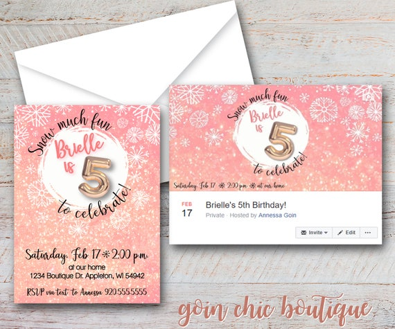 Pink glitter snowflake birthday party invitation snowflake party il570xn stopboris Image collections