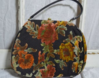 Vintage 1950s Black & Rust Floral Carpet Handbag Purse Hinge Closure