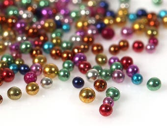 25g Glass Mixed Colour Microbeads.  0.7mm. Great for nail art, card making, pottery and numerous other crafts.