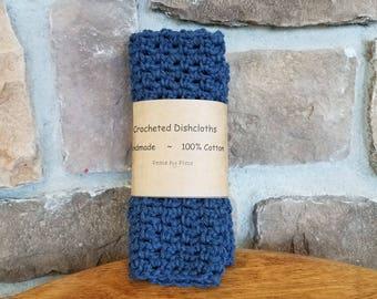 Crochet Dishcloths, Crochet Dish Cloths, Navy Blue, Handmade Cotton Dishcloths, Gift Ideas
