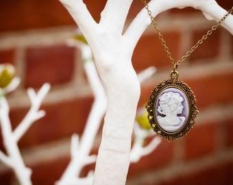 Purple Lady Cameo Necklace (The Katherine)