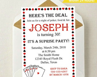 Poker Birthday Invitation // Playing Cards Invitation // Poker Invite // Royal Flush // King of Hearts // Queen of Hearts // Casino Party