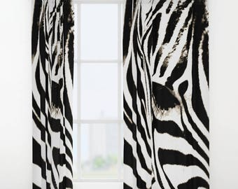 Zebra Print Curtain, Window Curtains, Black and White Curtains, Zebra  Decor, Black