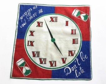 1960s clock handkerchief, Don't be late hankie, vintage handkerchief