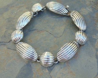 Mexican Sterling Silver Lined Link Bracelet - 30 Grams