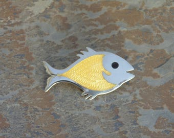 Mexican Sterling Silver and Yellow Enamel Fish Pin / Brooch