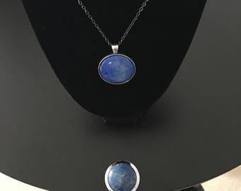Set - Purse Hanger & Necklace - Blue Howlite Gem