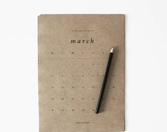 2018SALE Limited Edition Medium 2018 Calendar, A4 Calendar, Medium Calendar, Calendar, Portrait, Brown Paper, Kraft Paper