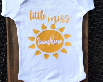 LITTLE MISS SUNSHINE Onesie - Birthday, New Born, Baby Shower, New Mom, Birth Gift, Hospital Gift, New Born Photos
