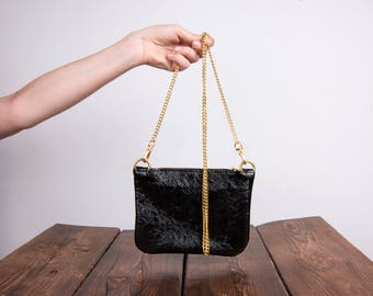 Black Leather Clutch, Glossy Black Leather Cluth, Leather Crossbody Pouch, Coin Purse, Black Evening Bag, Black Wedding Purse