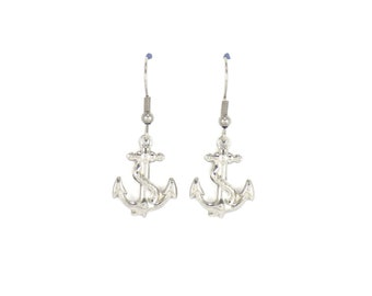 Anchor earrings, silver earrings, gift for her, dangle earrings, bridesmaid gifts, jewelry gifts