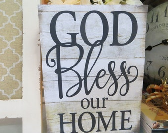 """Wood Sign, """"God Bless Our Home"""", Religious Home Decor, Entryway Family Decor, Family Room Wood Sign"""