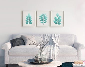 Exceptionnel Nature Print Set Of 3 Aqua Blue Botanical Prints, 3 Piece Wall Decor Turquoise  Wall