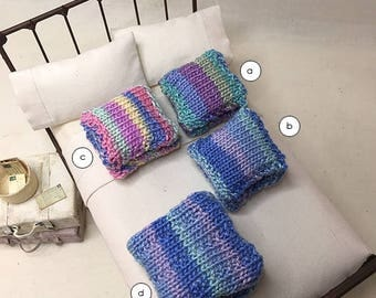 Shabby Chic Hand knitted Miniature Dollhouse Throw Pillow Set  - Pick A Color and Size