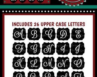 Vintage Monogram Badges | Full Alphabet | Cutting Files | Printable | svg | eps | dxf | png | Cursive Script | Farmhouse | Wedding | Stencil