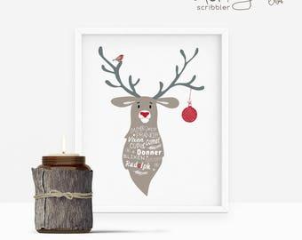 rudolph printable, rudolph print, christmas print, christmas wall art, christmas decoration, reindeer print, reindeer printable, xmas print