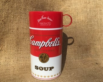 Vintage Campbell's Soup Thermos Container Insulated Lunch Food Storage Keeper