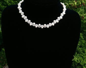 Bridal Necklace with Petit Swarowski Pearls