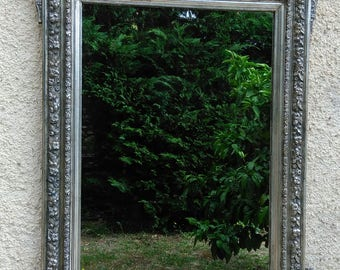 Antique mirror: silver mirror, french mirror, wall mirror, antique silver mirror
