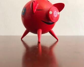 Vintage Pink Piggy Bank, German Piggy Bank miniature, Kitschy Pink pig, collectible Piggy Bank Figurine, handmade wooden Piggy Bank, gift