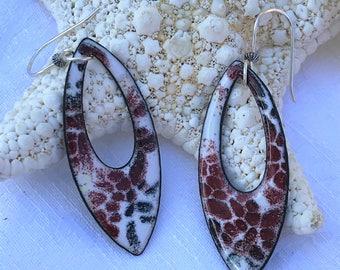 Artisan Enamel Teardrop earrings with sterling silver ear wires.