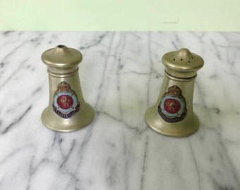 Cunard RMS BERENGARIA Enamel Crested Salt and Pepper Shakers ca.1920s Marked Made in England
