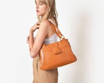 1960s Orange Mod Handbag 60s Vintage Structured Purse