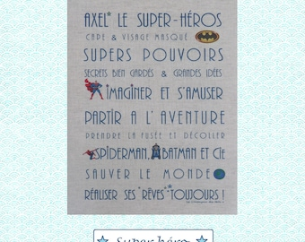 "Custom theme ""SUPERHERO"" linen canvas"