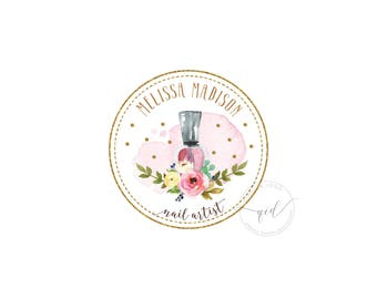 Premade glitter gold nail salon beauty products, modern watercolor, calligraphy logo, perfect for social media images, floral and confetti