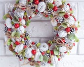 Wreath, Front Door Decoration, White wreath, Wreath at the door, Christmas wreath, Natural winter wreath, Wreath with berries, Wreath rustic