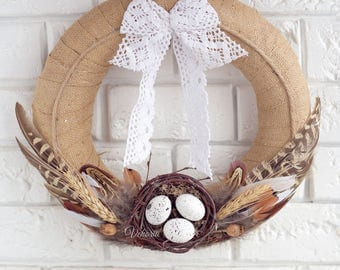 Easter wreath burlap, Easter door decoration, Holiday decor, Rustic style, Easter eggs, Decoration feathers, Country style, Bohho