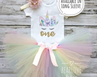 Rainbow Unicorn Birthday Outfit | Unicorn Outfit | Rainbow First Birthday Outfit | Rainbow Birthday Shirt | Cake Smash Outfit | Photo Prop
