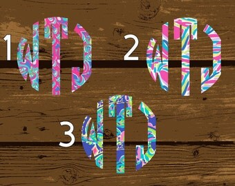 Lilly Pulitzer Monogram, Lilly Pulitzer Decal, Lilly Pulitzer, Monogram, Lilly Monogram, Monogram Sticker, Monogram Decal, Vinyl Monogram