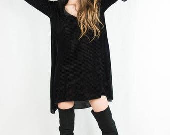 Olivia Black Velvet Hooded Bell Sleeve Tunic Dress