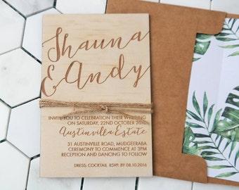 Wood wedding invitation. Tropical, beach, rustic wedding invitation. SAMPLE ONLY
