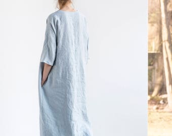 Washed maxi linen KIMONO tunic in ice blue/silver grey. Oversize linen dress. V neckline linen dress in ice blue/silver grey