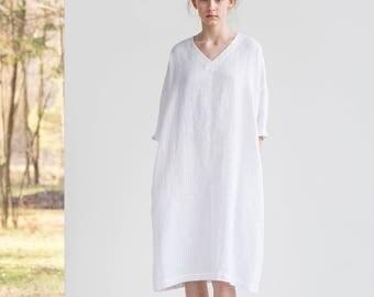 White linen tunic/dress. Washed linen kimono tunic. Oversize linen dress. V neckline linen dress
