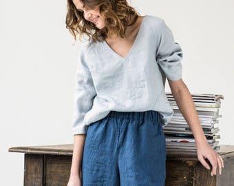 Linen wide leg LYON MIDI pants / Linen culottes /skirt -  pants available in 34 colors