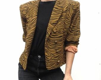 Yves Saint Laurent   Vintage   1980s   Jacket   Animal print   Leopard jacket   Wool   Ocher/black   Crossed