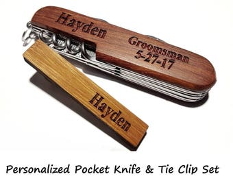 Personalized Pocket Knife and Bamboo Tie Clip Set Groomsman Gift Wedding Tie Bar Groomsmen Father of the Groom Bride Best Man Graduation