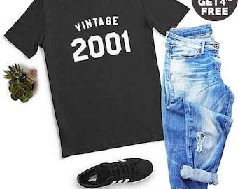 Vintage Tshirt 17th Birthday Gifts Tees 2001 Birthday Graphic Women Tshirt Hipster Grunge Tumblr Birthday Gifts Funny Tees Men Tshirt Women