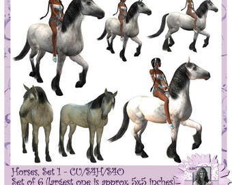 Horses Commercial Use Set 1, colt, filly, mare, stallion, bronco, foal, mustang, pony, steed