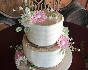 Cake Topper Mr & Mrs Heart Surname Topper Custom Made - Birthday - Wedding - Event- Engagement cake decoration decorating