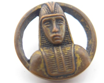 Vintage Art Deco  Egyptian Revival Pharaoh Figural Metal Picture Button