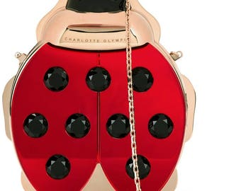 CHARLOTTE OLYMPIA  'Ladybird' Crystal Embellished Metal Clutch