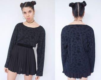 BLACK FLORAL TOP -tshirt, velvet, long sleeve, 90s, grunge, gothic, clueless, aesthetic, cute, sweatshirt, creepy cute-